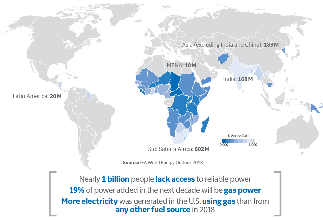 Map of people without access to electricity