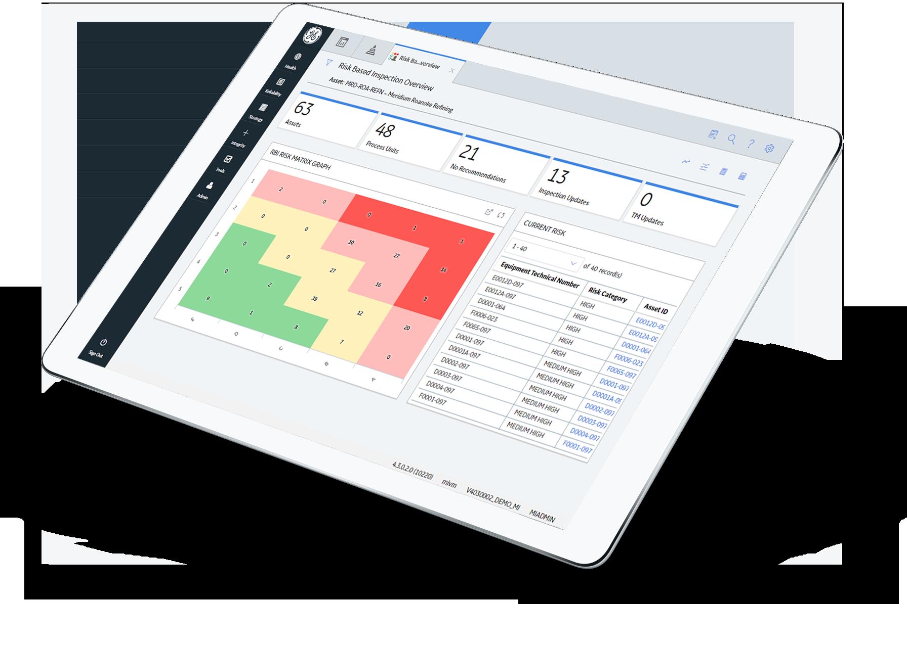 APM Integrity software from GE Digital, risk based inspection screenshot