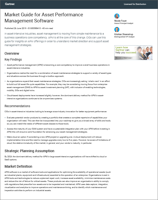 Gartner's 2019 Market Guide for Asset Performance Management Software