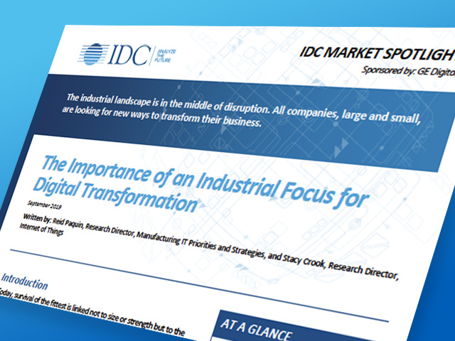 IDC - The Importance of an Industrial Focus for Digital Transformation