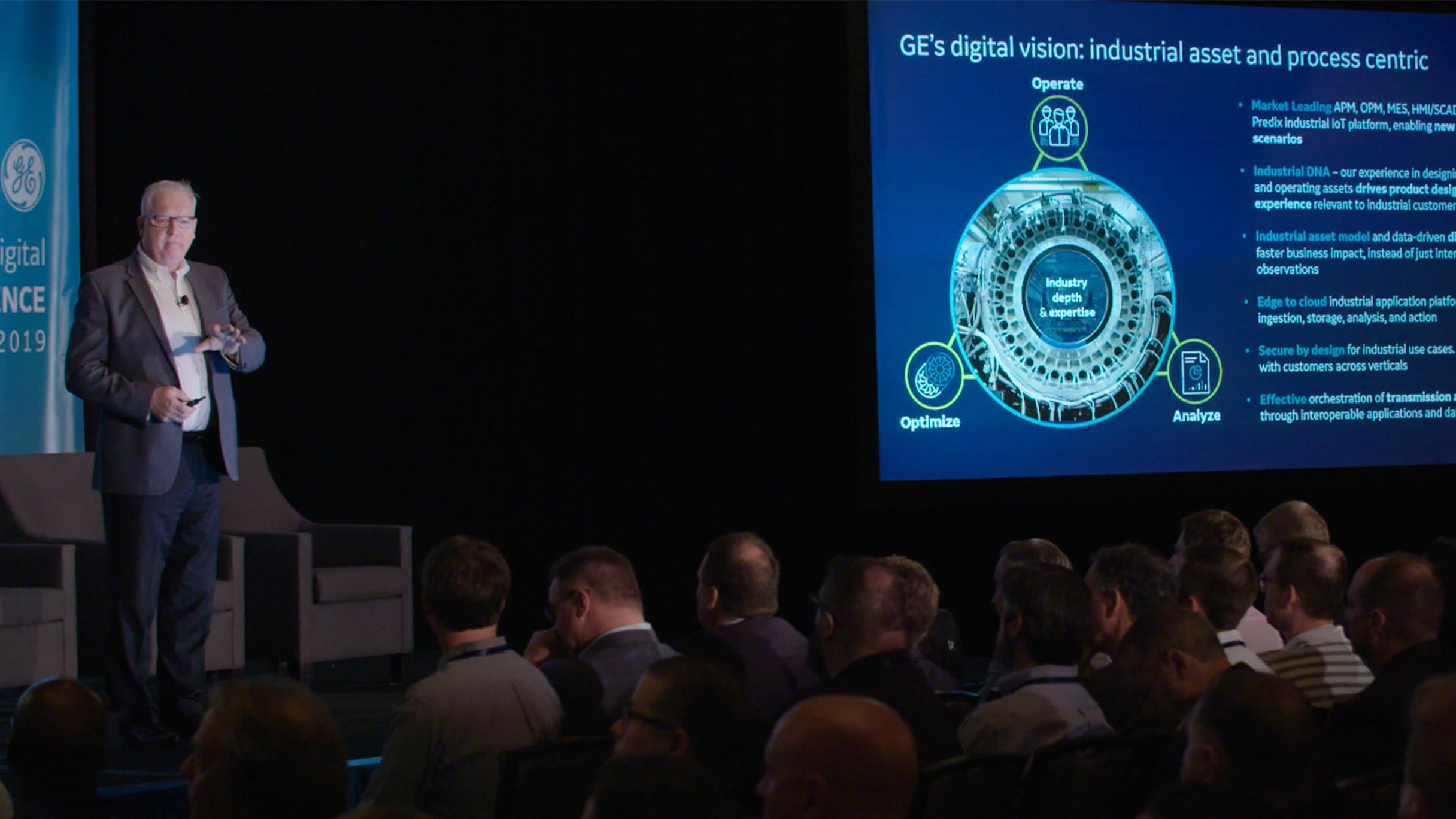 Pat Byrne, GE Digital CEO, addresses 2019 User Conference attendees