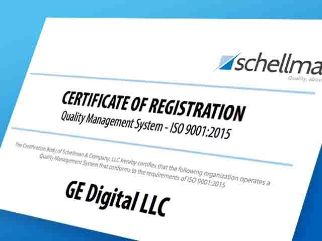 Certificate of Registration | GE Digital ISO 9001:2015