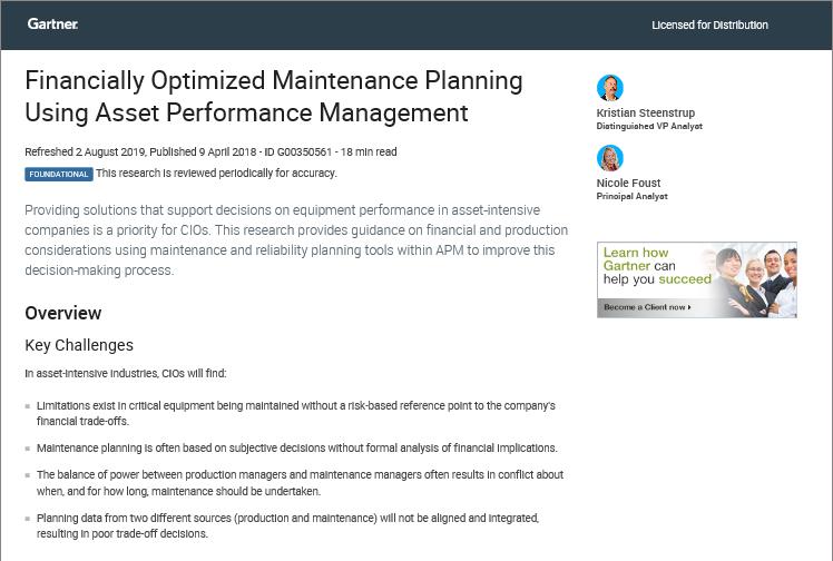 Gartner Research Report   GE Digital Asset Performance Management
