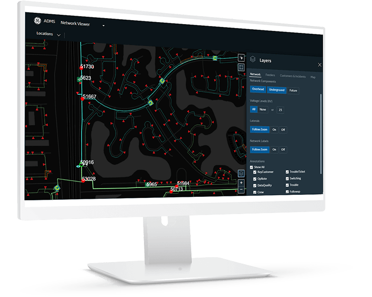 ADMS Network View | GE Digital software for Utilities and T&D