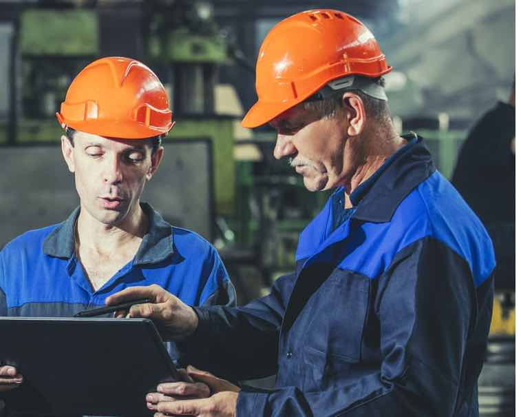 Engineers using GE Digital industrial software