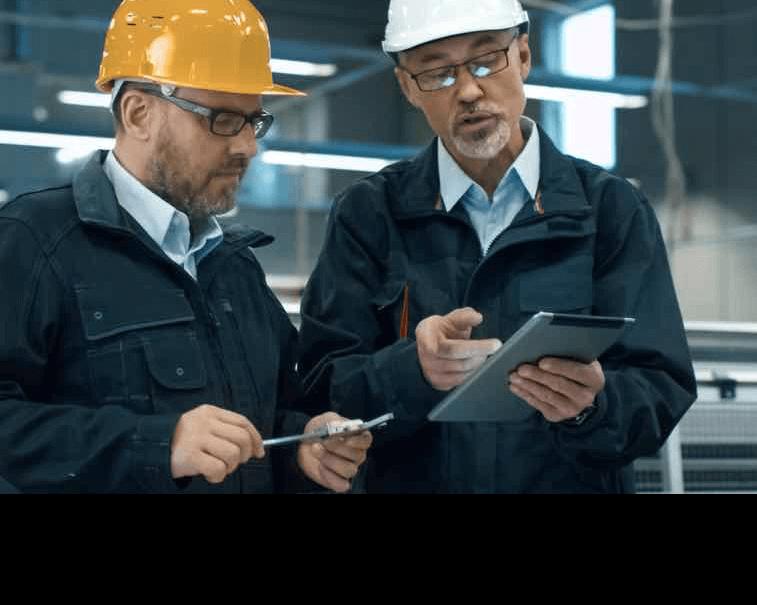 Engineers as digital workers using GE Digital industrial software on tablets