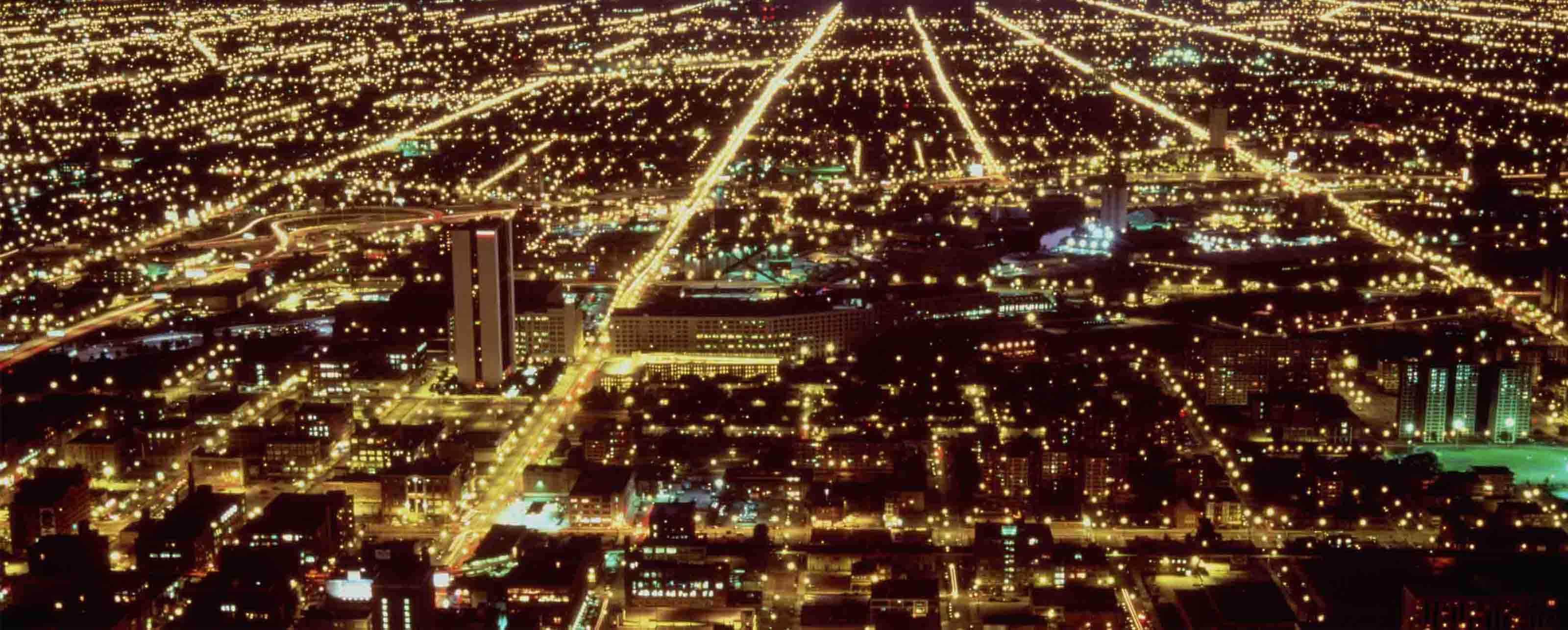 City lights illuminated with the help of GE Digital grid modernization software for utilities