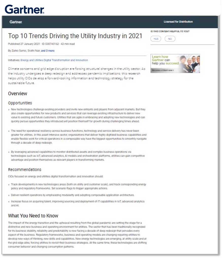 Gartner: Top 10 Trends Driving the Utility Industry in 2021