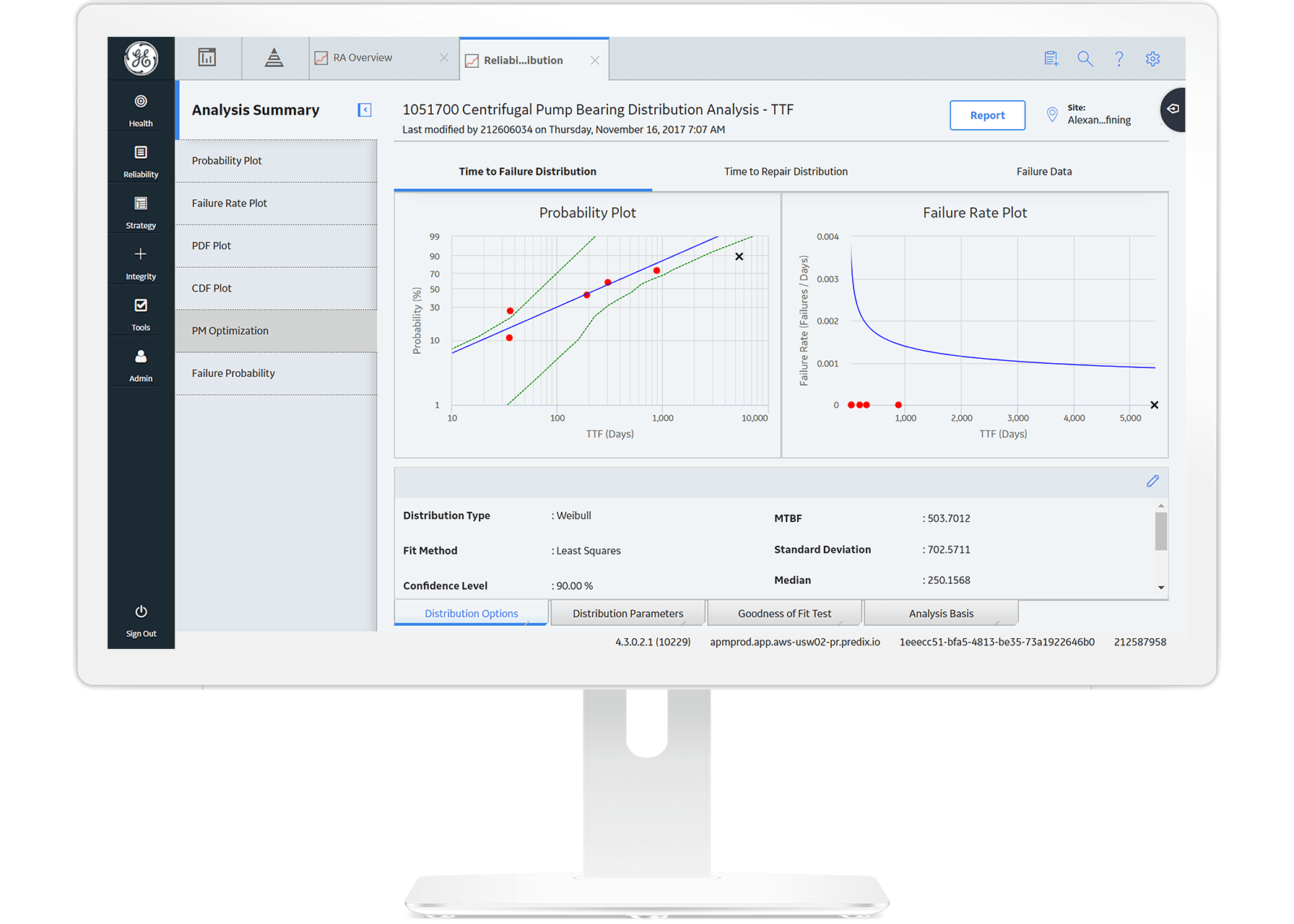 APM Reliability software from GE Digital, screenshot for reliability analysis and predictive analytics