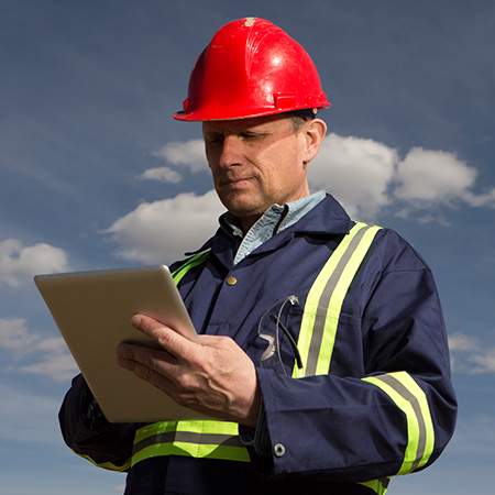 remote worker: utility worker using GE Digital software