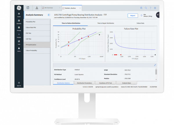 GE Digital APM Reliability software for predictive analytics screenshot