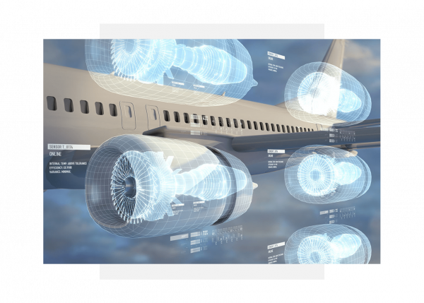 Aviation illustration showing the predictive analytics of GE industrial applications