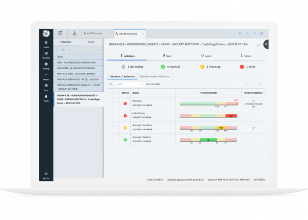 GE Digital's APM Health software shows a view of industrial operations, screenshot