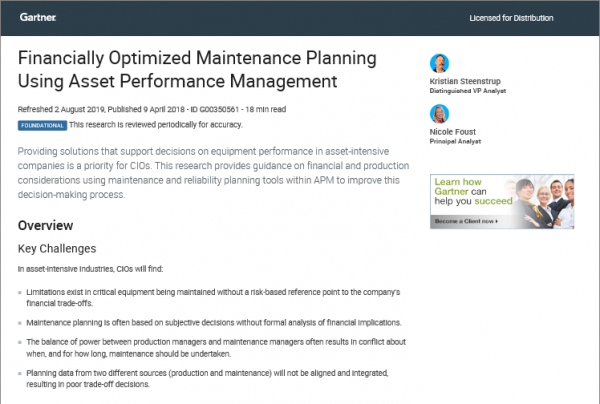 Gartner Research Report | GE Digital Asset Performance Management