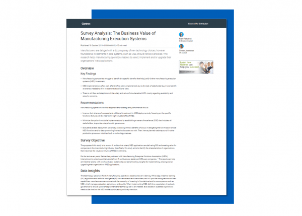 Gartner Study: Business Value of Manufacturing Execution Systems