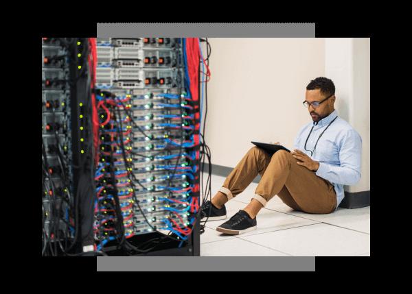 Engineer utilizing Predix Platform for cyber security asset safety