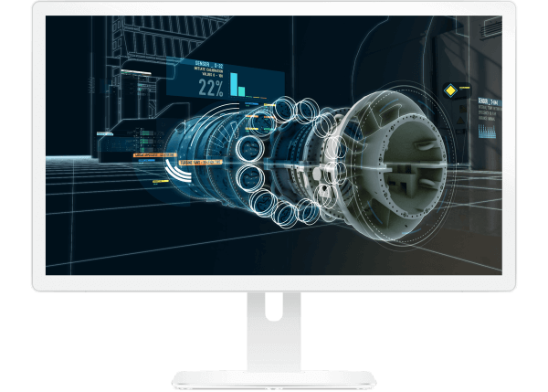 Digital Twin graphic showing power of advanced analytics on GE industrial turbine