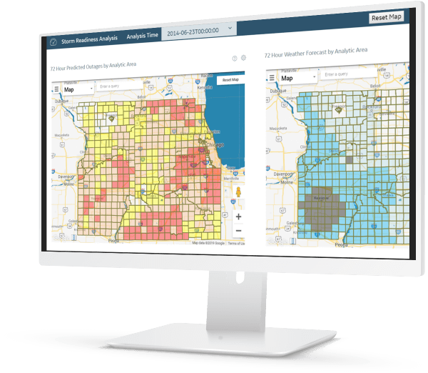Grid analytics | Storm readiness screenshot | Using AI and machine learning to modernize the utilities grid