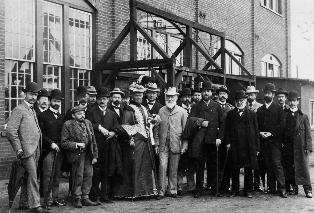 Group picture during visit of Lord Kelvin to the General Electric Schenectady Works. Lord and Lady Kelvin are in the center of the picture. Charles Steinmetz is fourth from the left. Elihu Thomson is in the front row next to Steinmetz. To the right of Thomson is Ediwn W. Rice, Jr.
