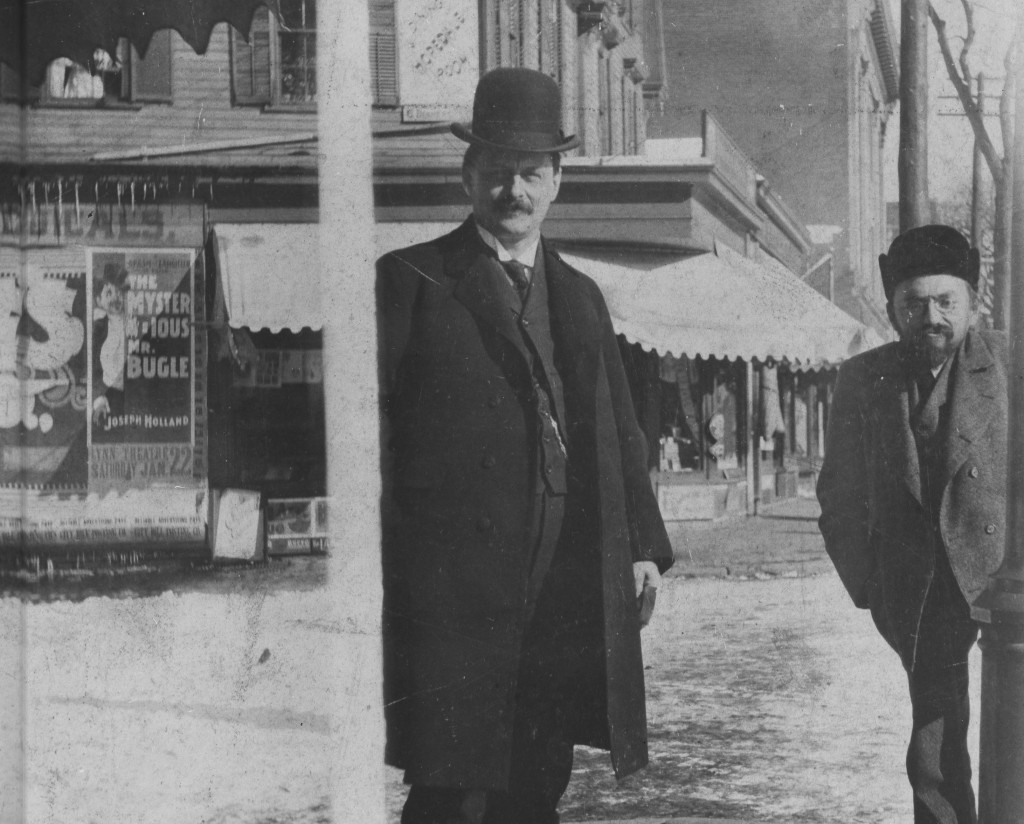 General Electric inventors Elihu Thomson and Charles Steinmetz, on a street in Boston, Massachusetts.