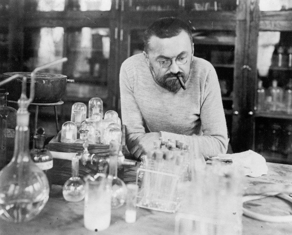 General Electric engineer Charles Steinmetz works in the laboratory building at his Wendell Avenue home in Schenectady.
