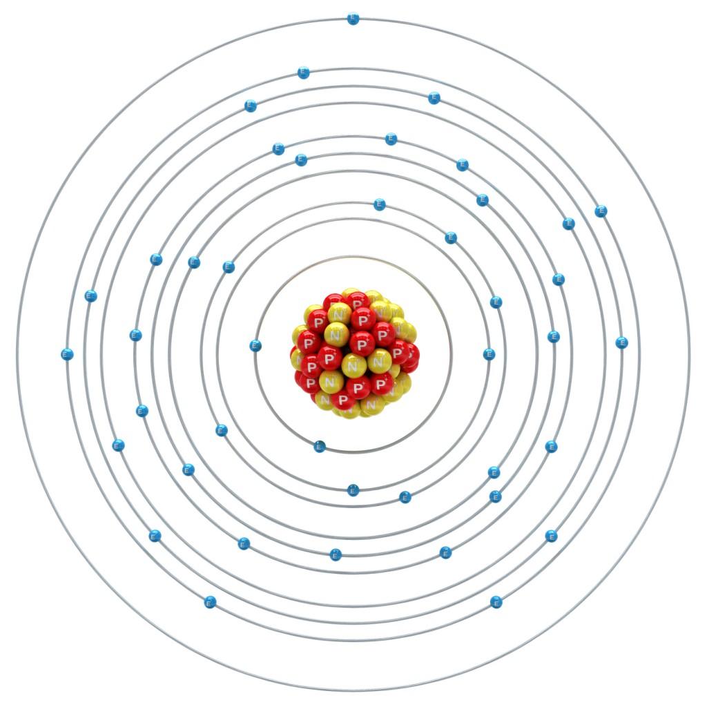 Molybdaenum atom on a white background