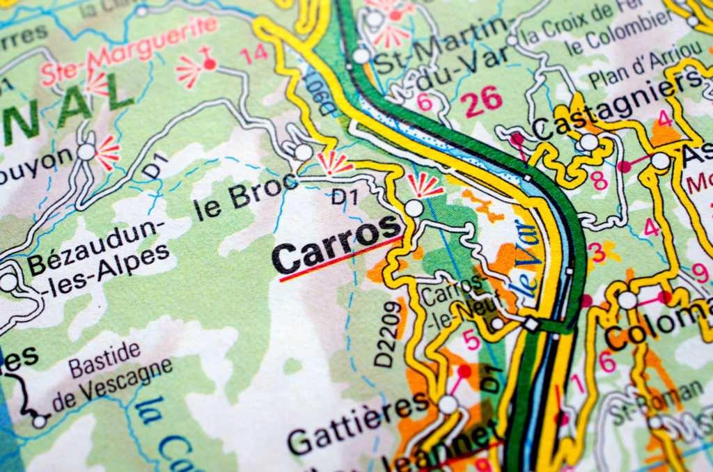 Carros on road map