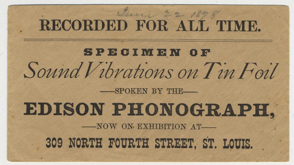 Edison recording sleeve, front
