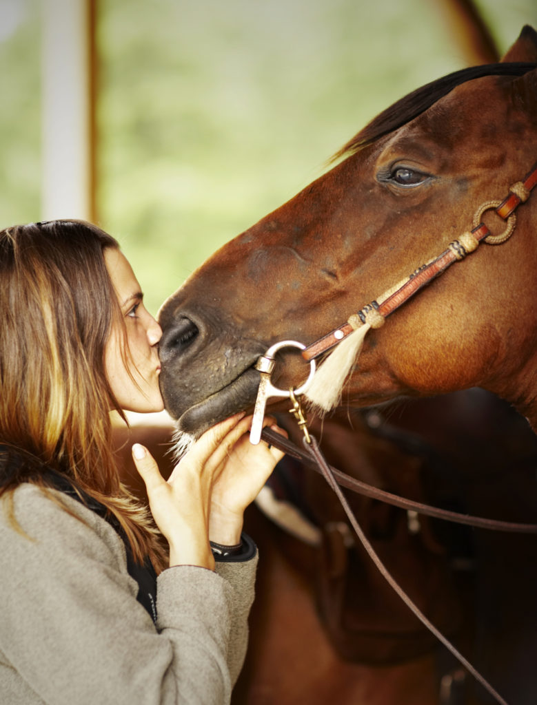 Woman kissing horse on nose.