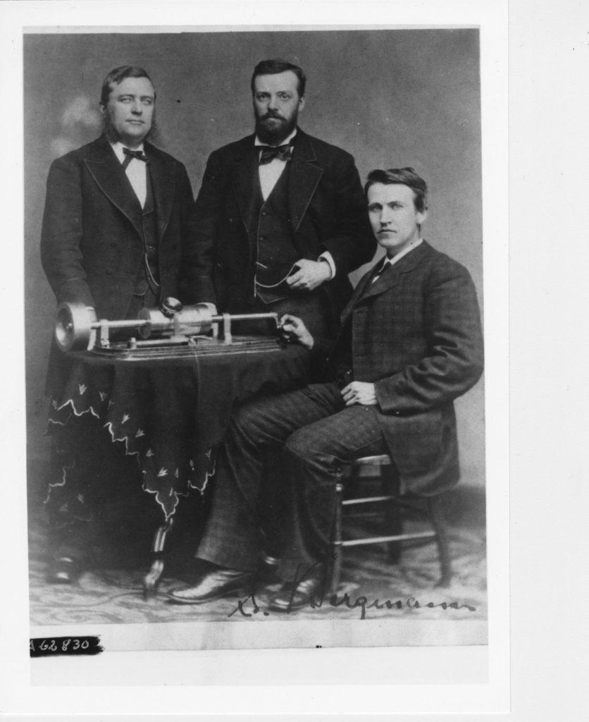 Sigmund Bergmann, Charles Batchelor, Edison with Edison tinfoil phonograph 1878