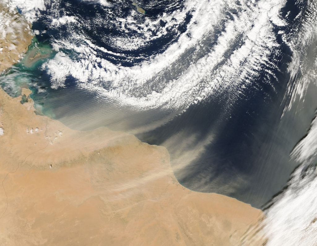 November 14, 2004 - Satellite view of dust plumes off Libya.