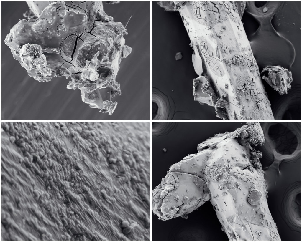 Nanotechnology collage. Process of ternary alloy InGaAs crystal (whisker) growth. Crystallization or solidification process view through the electron microscope with multiple increase in (zoom in)