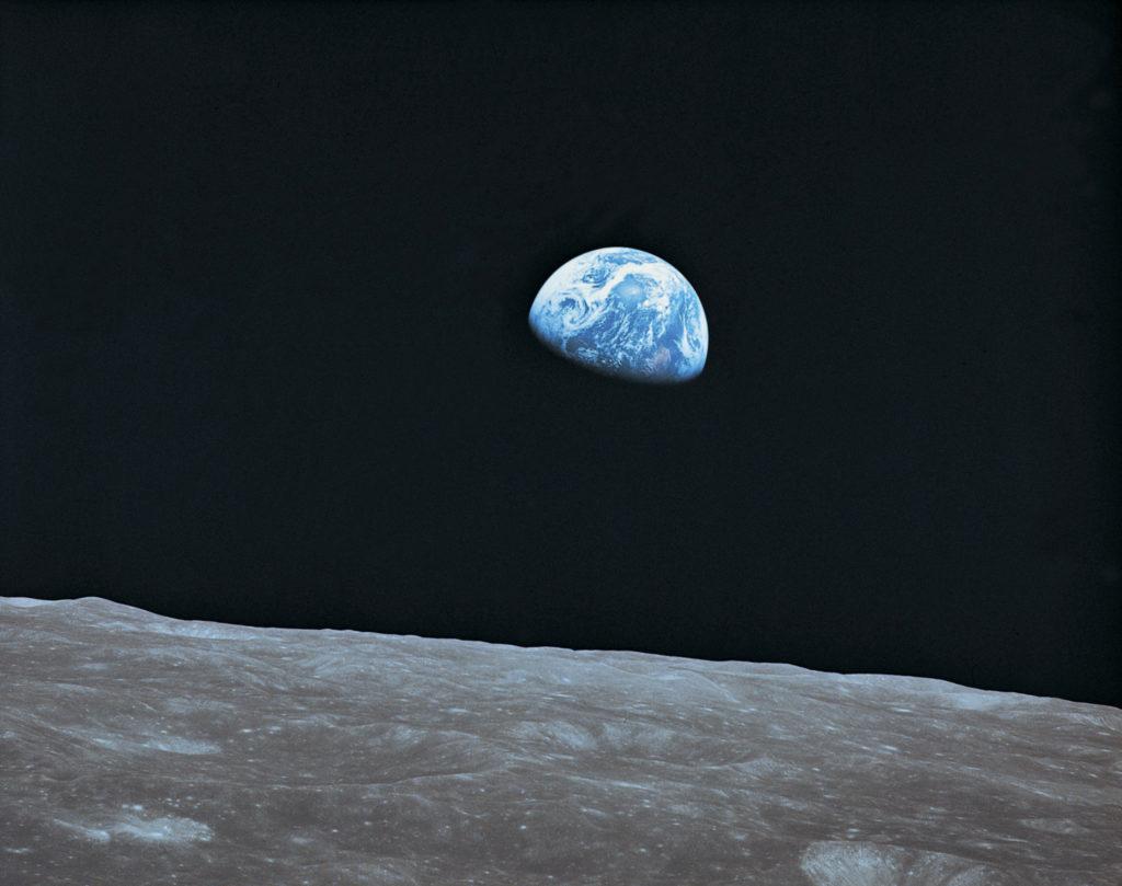 Earth and lunar landscape