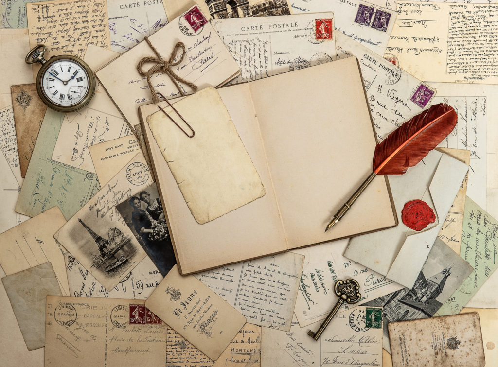 open diary book, old accessories and postcards. sentimental vintage style background