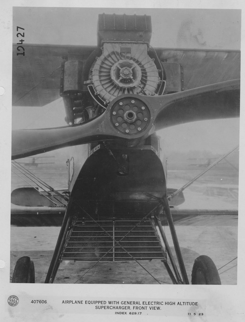 407606 Airplane with GE high altitude supercharger, front view, 1923