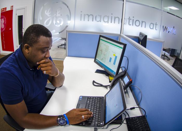 GE Africa's Lagos office. Shown here is Ekuase Uzebu. (Photo: Arne Hoel)