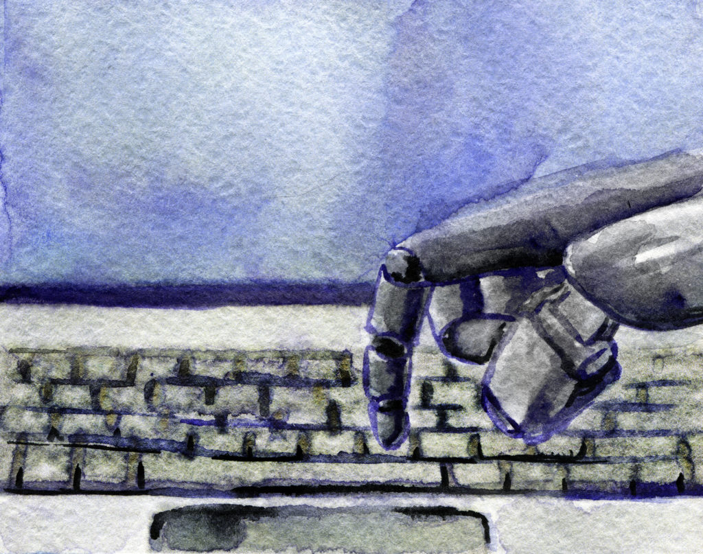 watercolor sketch of robot typing on conceptual keyboard
