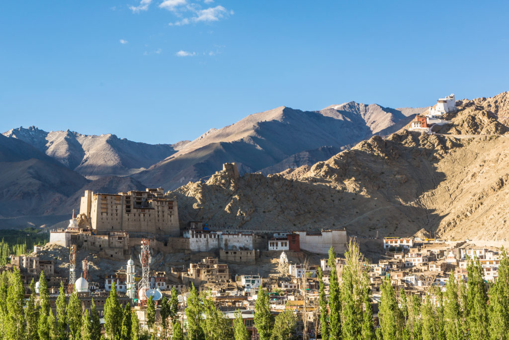 Leh Palace and a view of the village in Ladakh, India