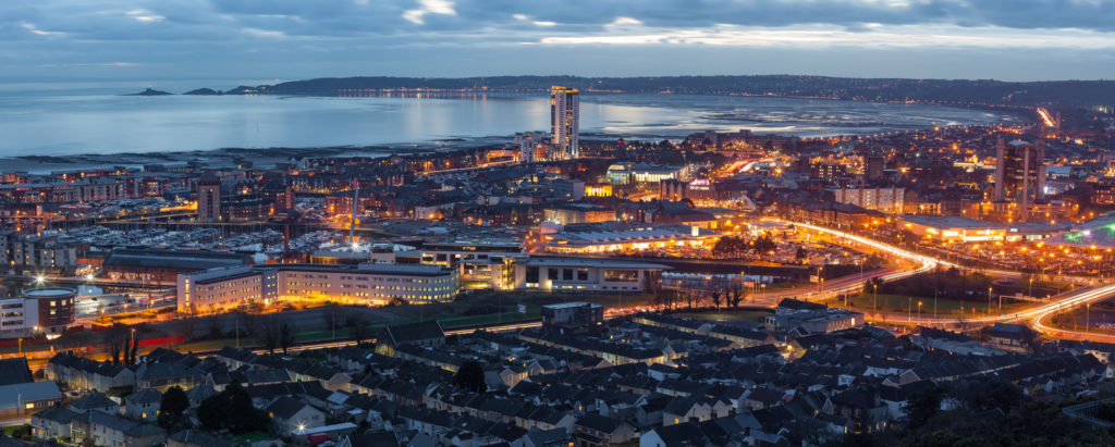 An evening view of Swansea centre and the Bay area taken from Kilvey Hill January 2016