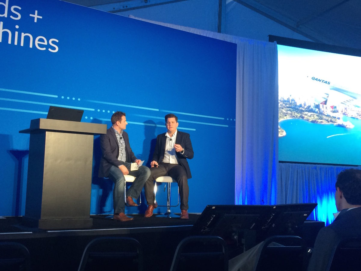 Murray Adams, manager of Operations Analytics and Reporting at Qantas, onstage with GE's Joel Klooster at Minds + Machines 2016, discussing the fuel efficiencies and operational benefits that have resulted from the airline's long partnership with GE.