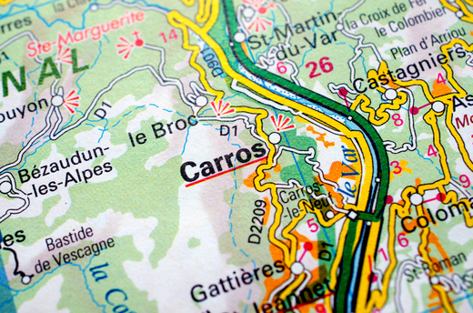 (Carros, France on a road map. Courtesy Getty Images.)
