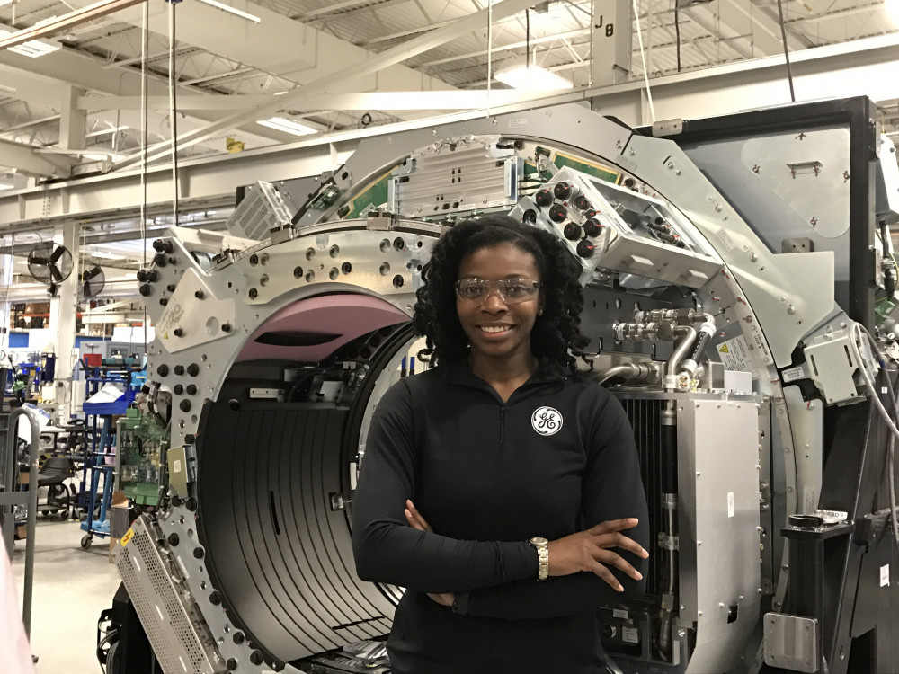 "After earning bachelor's and master's degrees in mechanical engineering, Amanda Breeden joined GE through its Operations Management Leadership Program. She currently is working on the ""CT of the Future"" initiative, where she spends half her time doing hands-on work on the manufacturing floor. ""How we're trained is you gain respect by being on the floor,"" she says. ""You need to learn the process so it's not that you're coming in and trying to make a change and they're just looking at you as an outsider."""