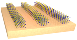 The researchers experimented with nanoscale strips of a two-dimensional semiconductor, tungsten disulfide, arranged on a gold backing.