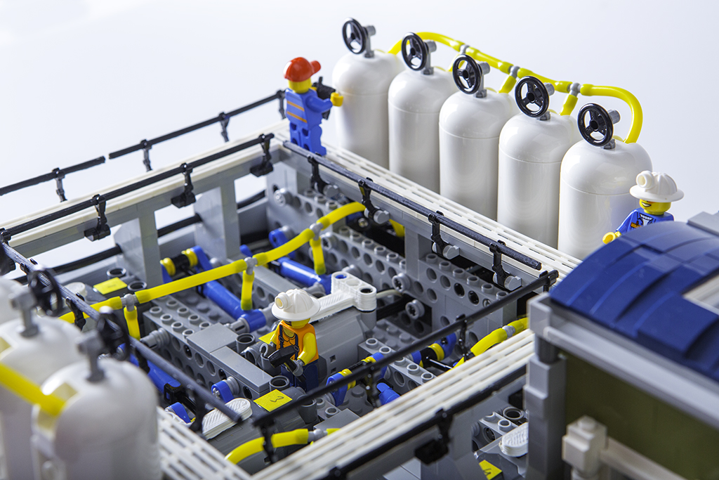 Close-up view of the Lego factory
