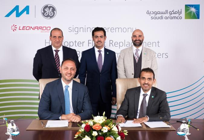 Executives from Milestone, Leonardo and Aramco commemorate award of fleet renewal program.